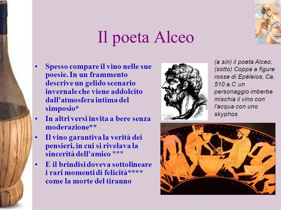 Il poeta Alceo Spesso compare il vino nelle sue poesie. In un frammento descrive un gelido scenario invernale che viene addolcito dall'atmosfera intim