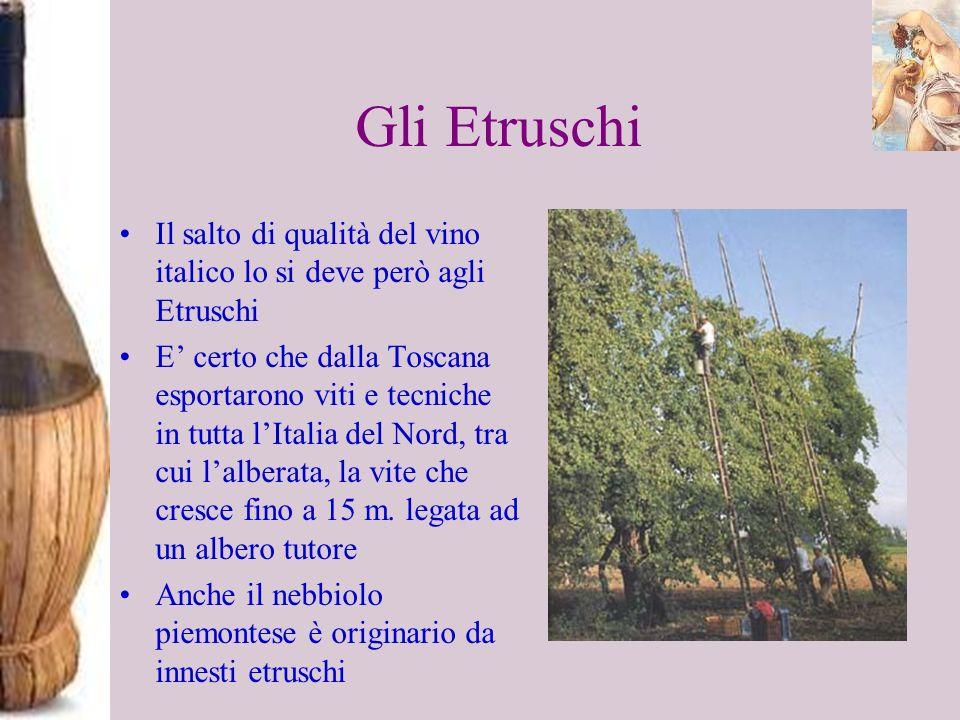 Gli Etruschi Il salto di qualità del vino italico lo si deve però agli Etruschi E certo che dalla Toscana esportarono viti e tecniche in tutta lItalia