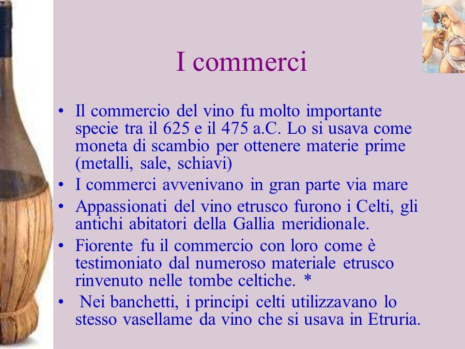 I commerci Il commercio del vino fu molto importante specie tra il 625 e il 475 a.C. Lo si usava come moneta di scambio per ottenere materie prime (me