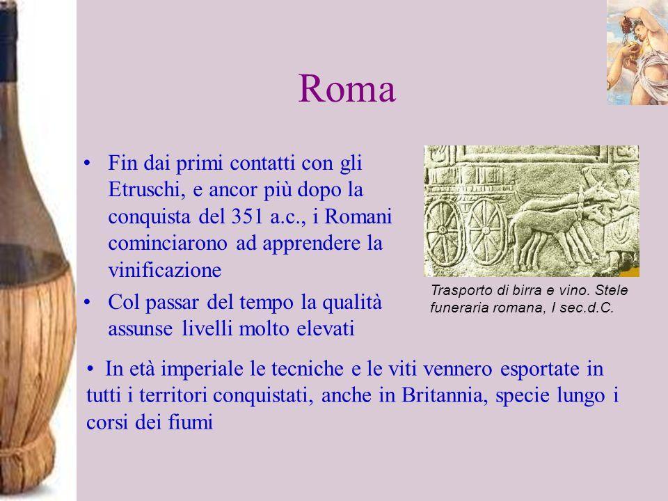 Roma Fin dai primi contatti con gli Etruschi, e ancor più dopo la conquista del 351 a.c., i Romani cominciarono ad apprendere la vinificazione Col pas