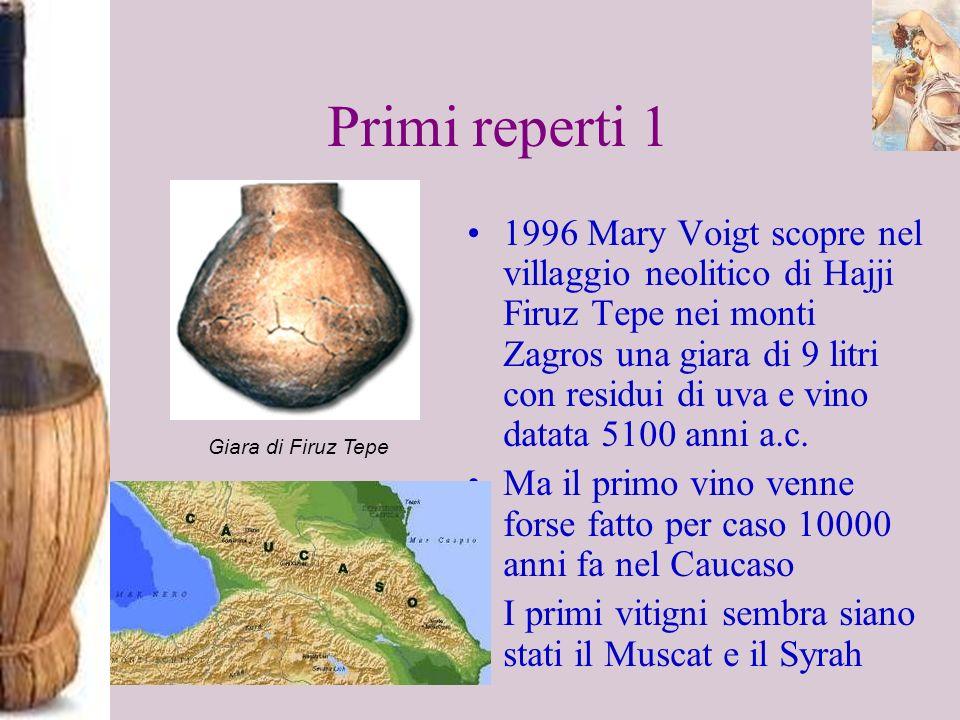 Primi reperti 1 1996 Mary Voigt scopre nel villaggio neolitico di Hajji Firuz Tepe nei monti Zagros una giara di 9 litri con residui di uva e vino dat