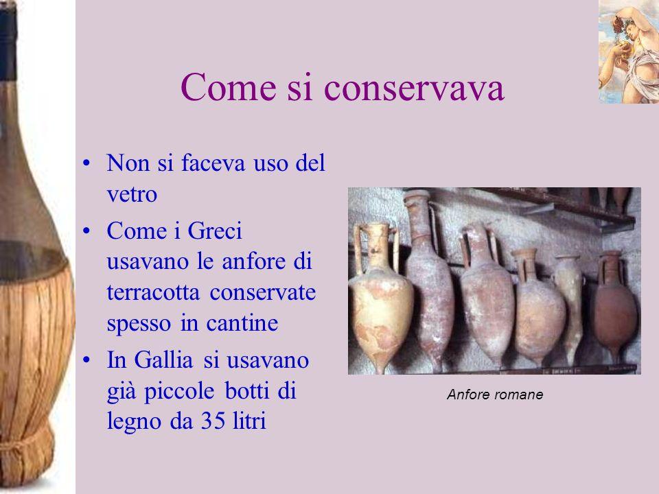 Come si conservava Non si faceva uso del vetro Come i Greci usavano le anfore di terracotta conservate spesso in cantine In Gallia si usavano già picc