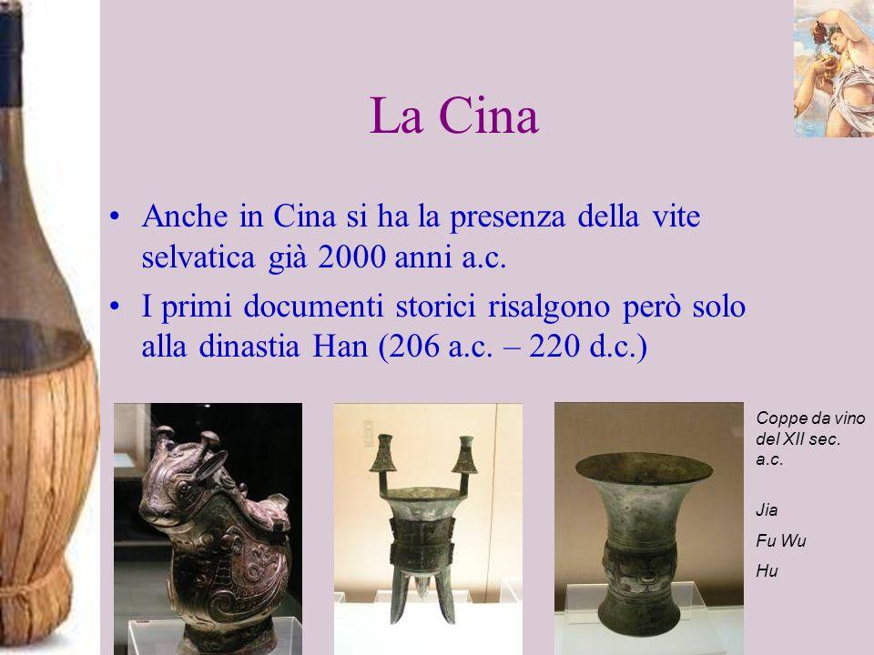 La Cina Anche in Cina si ha la presenza della vite selvatica già 2000 anni a.c. I primi documenti storici risalgono però solo alla dinastia Han (206 a