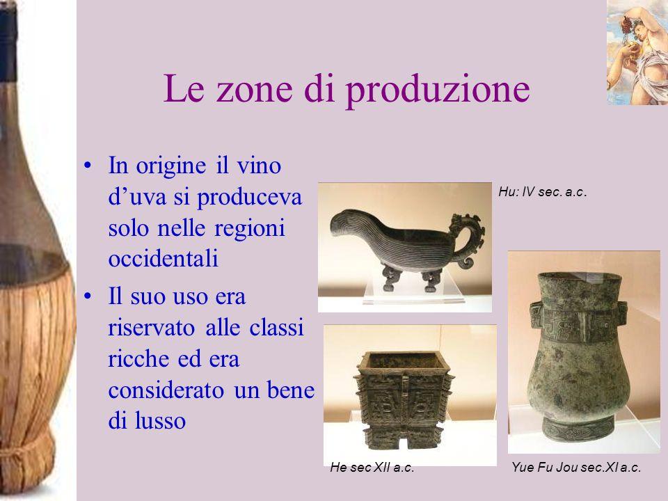 Le zone di produzione In origine il vino duva si produceva solo nelle regioni occidentali Il suo uso era riservato alle classi ricche ed era considera