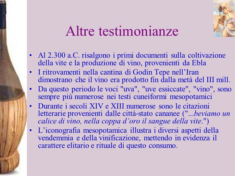 Altre testimonianze Al 2.300 a.C. risalgono i primi documenti sulla coltivazione della vite e la produzione di vino, provenienti da Ebla I ritrovament