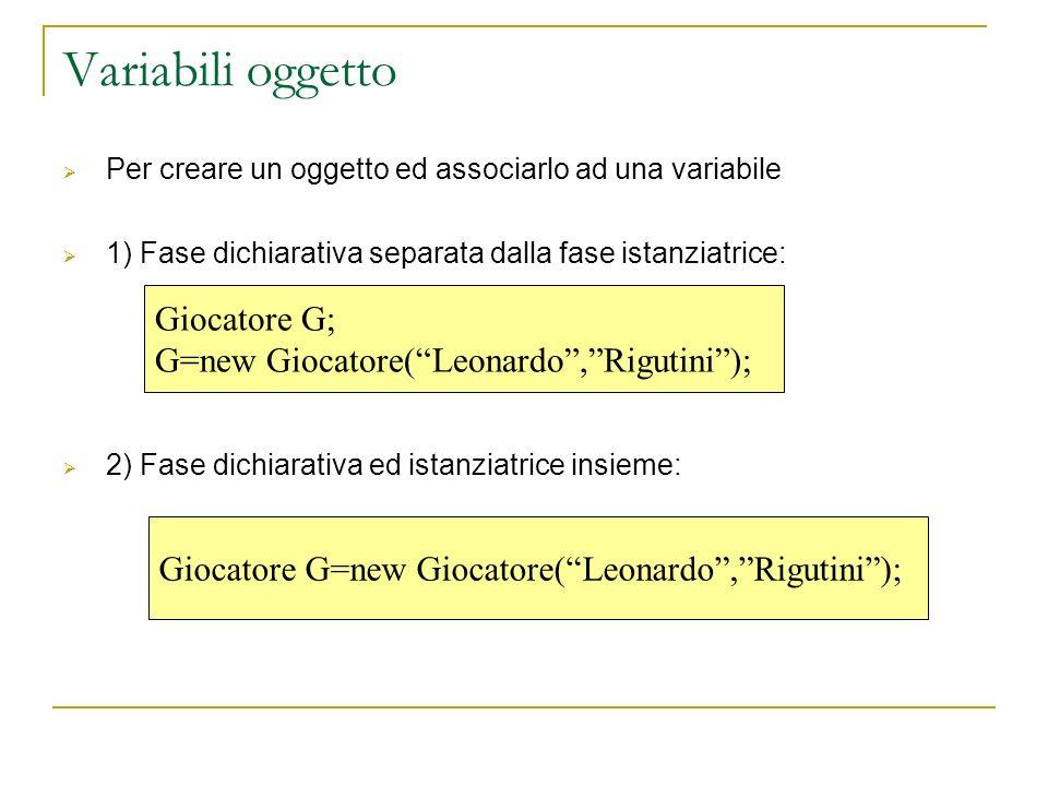 Giocatore G=new Giocatore(Leonardo,Rigutini); Giocatore G; G=new Giocatore(Leonardo,Rigutini); Variabili oggetto Per creare un oggetto ed associarlo a