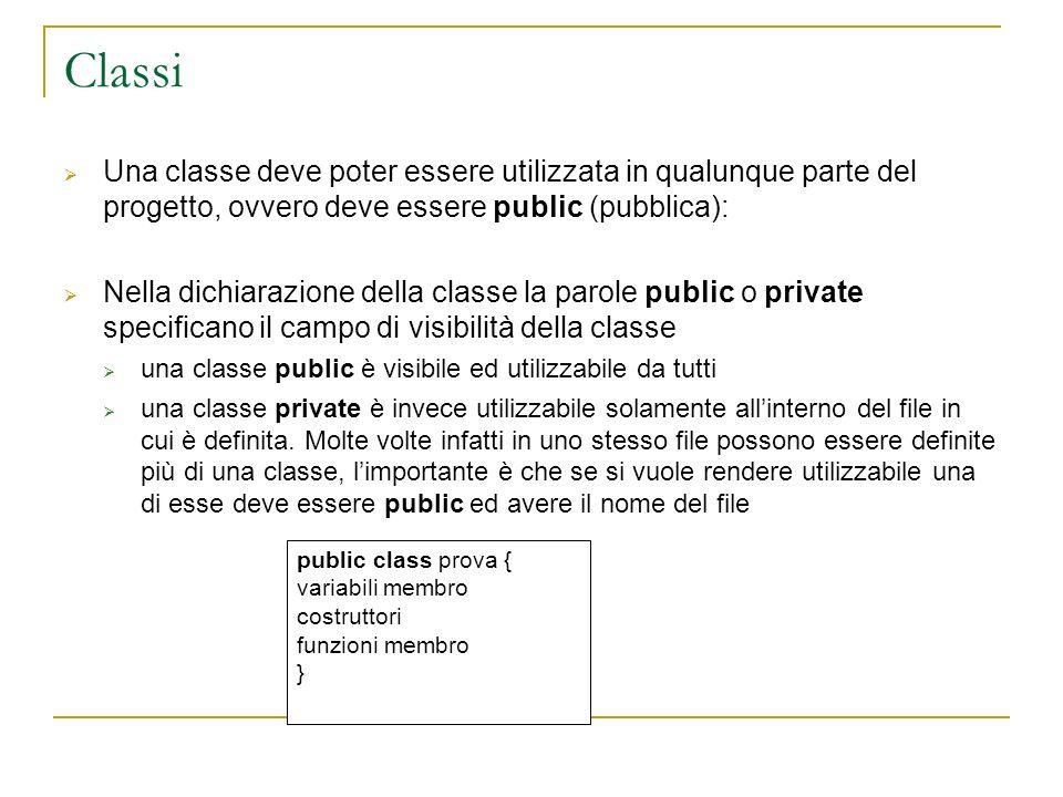 Classi Una classe deve poter essere utilizzata in qualunque parte del progetto, ovvero deve essere public (pubblica): Nella dichiarazione della classe