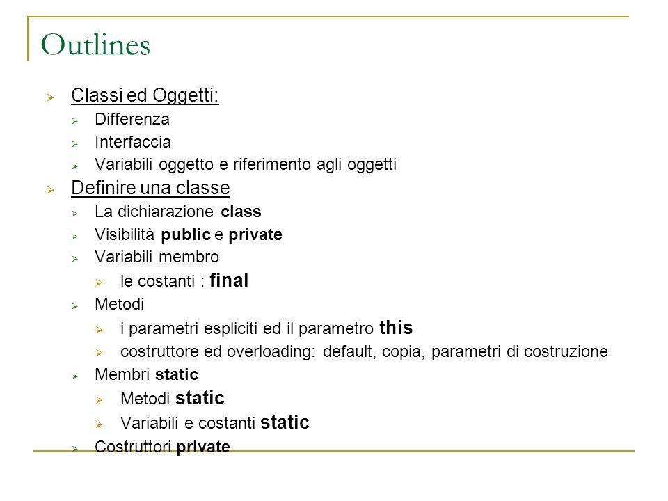 Outlines Classi ed Oggetti: Differenza Interfaccia Variabili oggetto e riferimento agli oggetti Definire una classe La dichiarazione class Visibilità