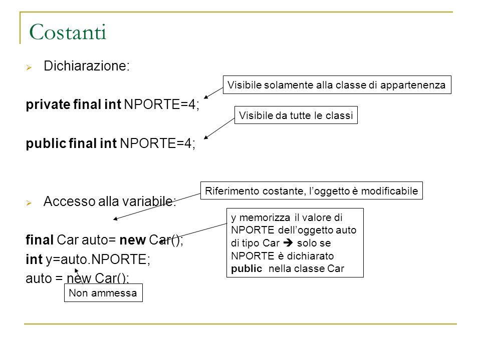 Costanti Dichiarazione: private final int NPORTE=4; public final int NPORTE=4; Accesso alla variabile: final Car auto= new Car(); int y=auto.NPORTE; a