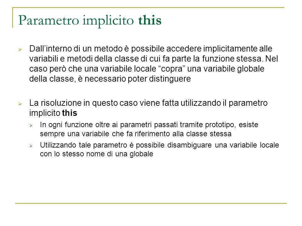 Parametro implicito this Dallinterno di un metodo è possibile accedere implicitamente alle variabili e metodi della classe di cui fa parte la funzione