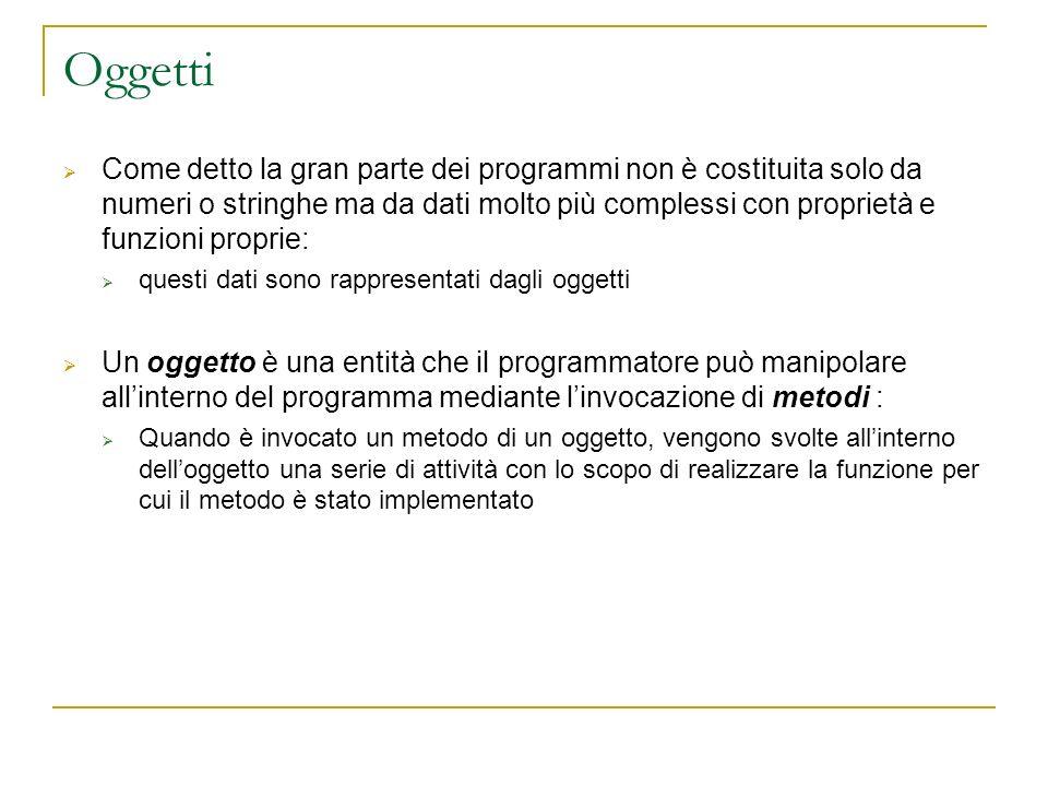 Oggetti Come detto la gran parte dei programmi non è costituita solo da numeri o stringhe ma da dati molto più complessi con proprietà e funzioni prop