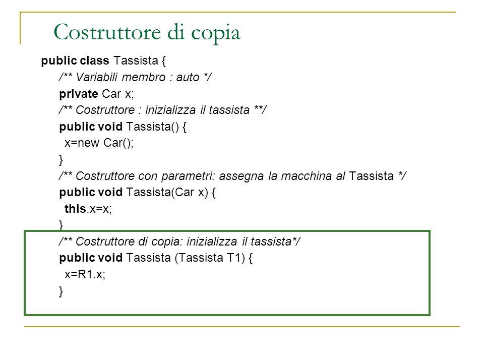 Costruttore di copia public class Tassista { /** Variabili membro : auto */ private Car x; /** Costruttore : inizializza il tassista **/ public void T