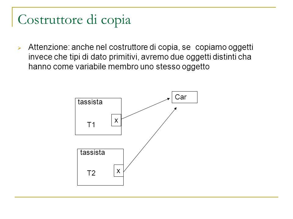 Costruttore di copia Attenzione: anche nel costruttore di copia, se copiamo oggetti invece che tipi di dato primitivi, avremo due oggetti distinti cha