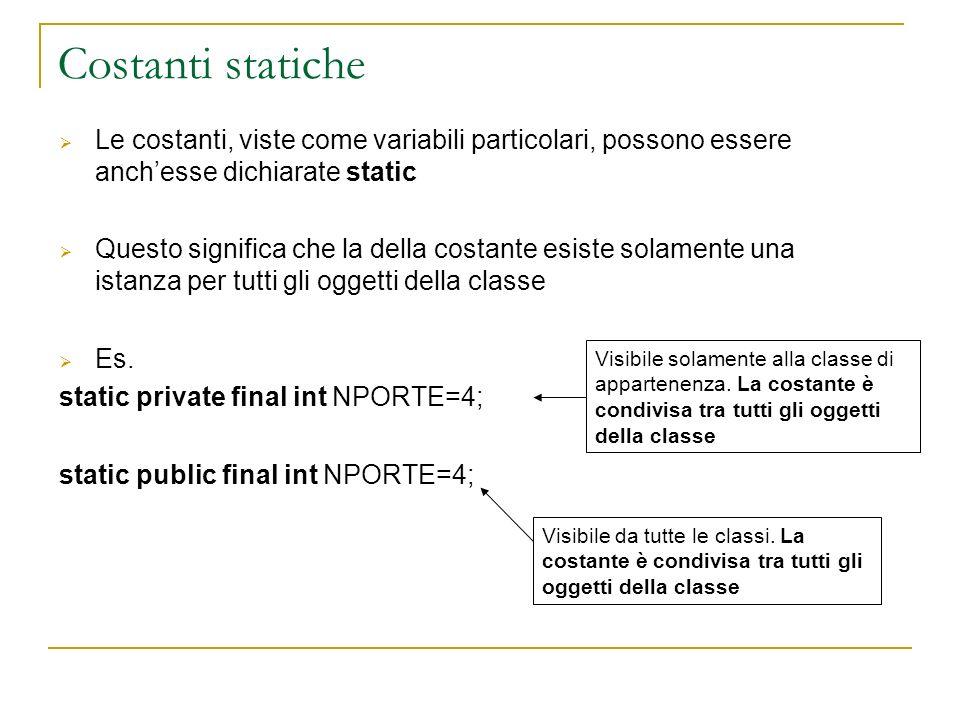 Costanti statiche Le costanti, viste come variabili particolari, possono essere anchesse dichiarate static Questo significa che la della costante esis