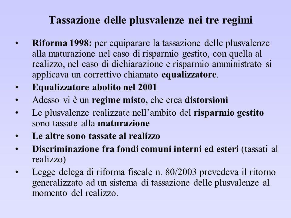Proposte di riforma (1) Precedente governo: unificazione dellaliquota al livello intermedio tra 12,5% e 27%.