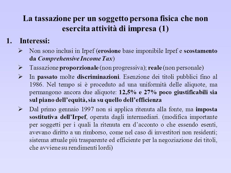 La tassazione per un soggetto persona fisica che non esercita attività di impresa (2) 2.