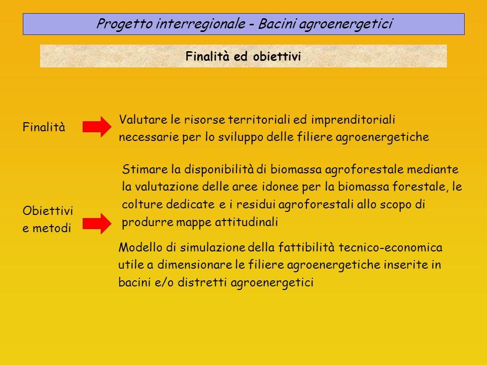 Progetto interregionale - Bacini agroenergetici Finalità ed obiettivi Finalità Valutare le risorse territoriali ed imprenditoriali necessarie per lo s