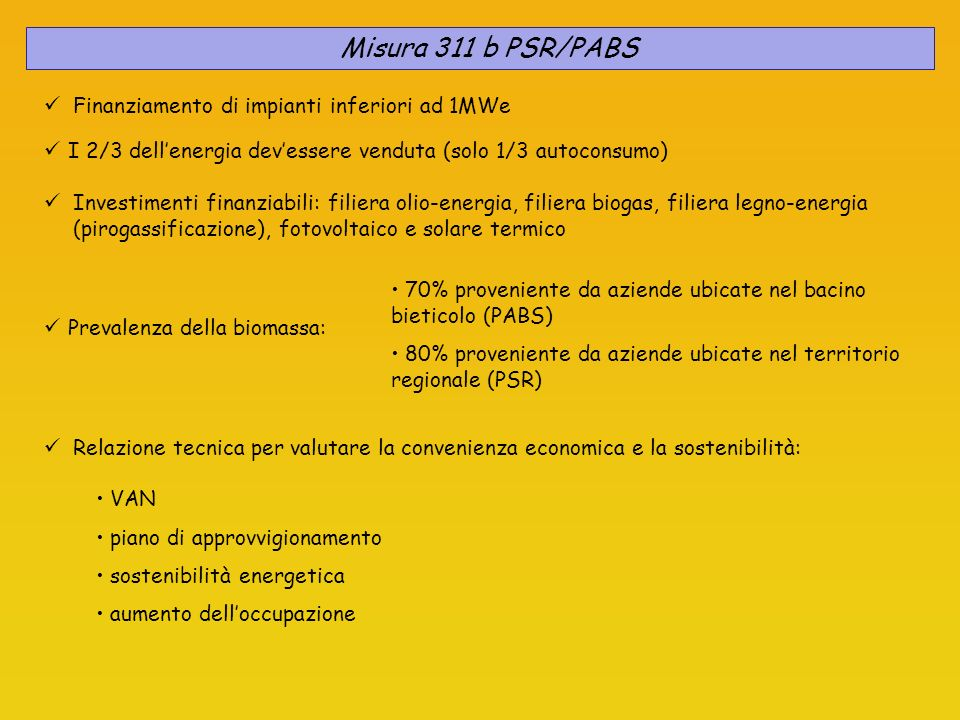 Misura 311 b PSR/PABS Finanziamento di impianti inferiori ad 1MWe I 2/3 dellenergia devessere venduta (solo 1/3 autoconsumo) Relazione tecnica per val