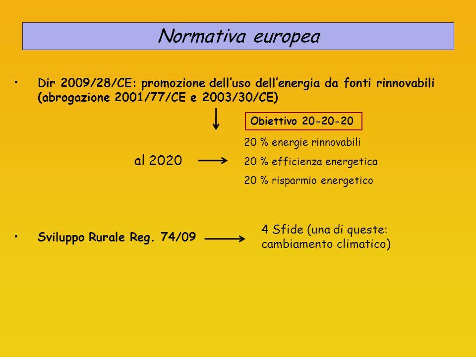 Normativa europea Dir 2009/28/CE: promozione delluso dellenergia da fonti rinnovabili (abrogazione 2001/77/CE e 2003/30/CE) Obiettivo 20-20-20 20 % en