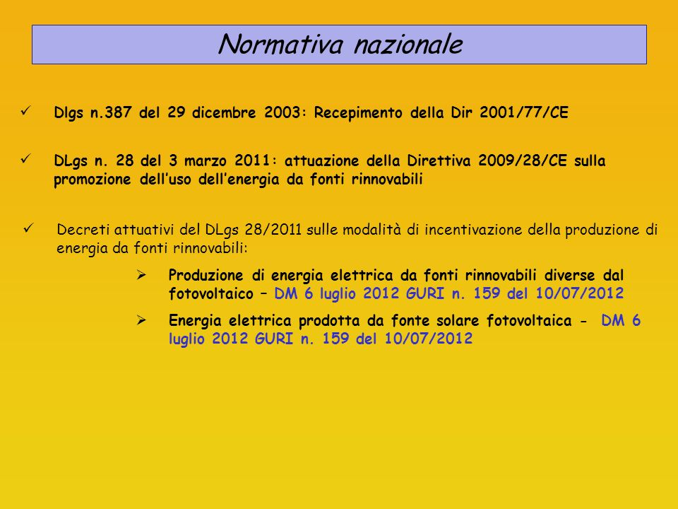 Normativa nazionale Dlgs n.387 del 29 dicembre 2003: Recepimento della Dir 2001/77/CE Decreti attuativi del DLgs 28/2011 sulle modalità di incentivazi