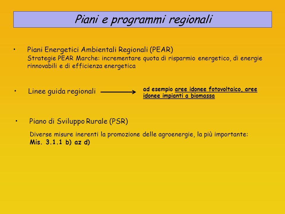 Piani Energetici Ambientali Regionali (PEAR) Strategie PEAR Marche: incrementare quota di risparmio energetico, di energie rinnovabili e di efficienza
