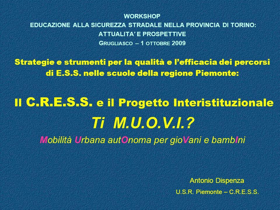 WORKSHOP EDUCAZIONE ALLA SICUREZZA STRADALE NELLA PROVINCIA DI TORINO: ATTUALITA E PROSPETTIVE G RUGLIASCO – 1 OTTOBRE 2009 Strategie e strumenti per