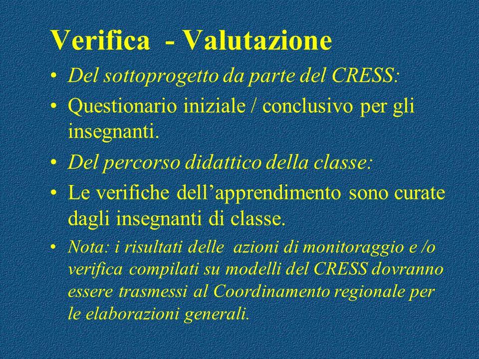 Verifica - Valutazione Del sottoprogetto da parte del CRESS: Questionario iniziale / conclusivo per gli insegnanti. Del percorso didattico della class