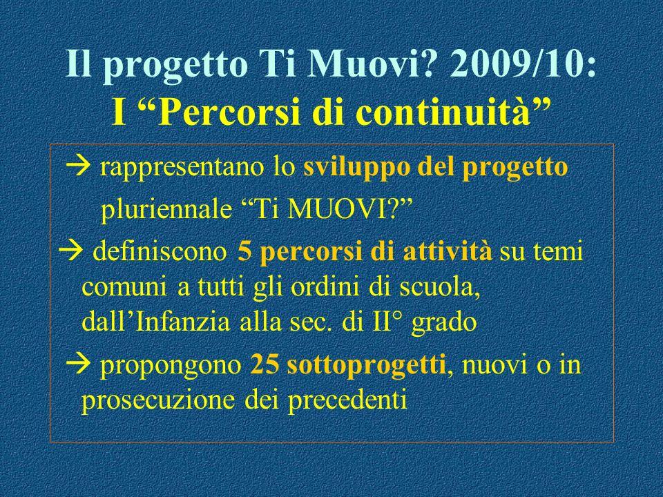 Il progetto Ti Muovi? 2009/10: I Percorsi di continuità rappresentano lo sviluppo del progetto pluriennale Ti MUOVI? definiscono 5 percorsi di attivit