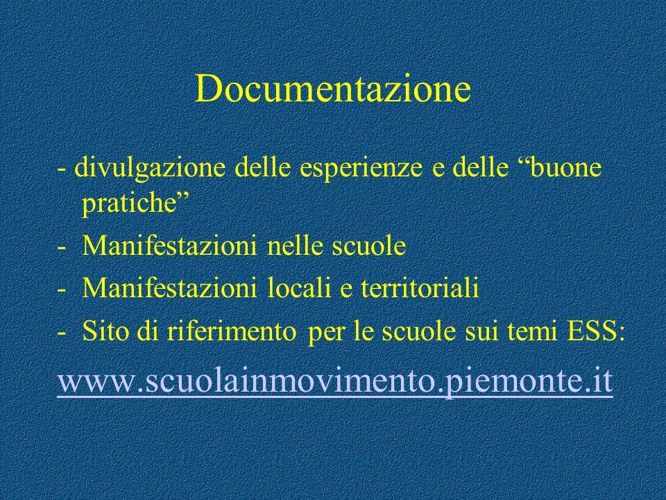 Documentazione - divulgazione delle esperienze e delle buone pratiche -Manifestazioni nelle scuole -Manifestazioni locali e territoriali -Sito di rife