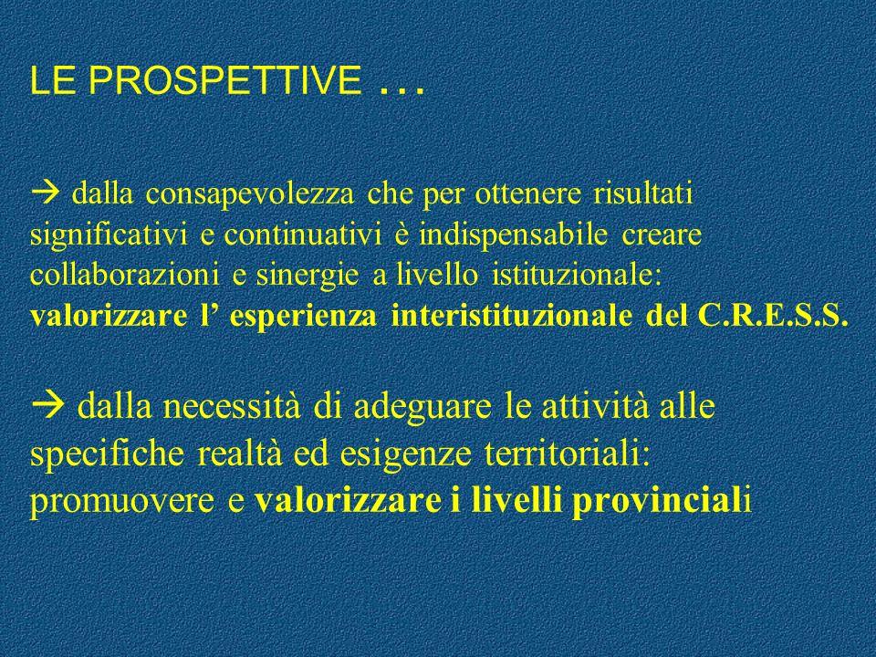 LE PROSPETTIVE … dalla consapevolezza che per ottenere risultati significativi e continuativi è indispensabile creare collaborazioni e sinergie a live