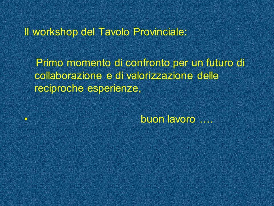 Il workshop del Tavolo Provinciale: Primo momento di confronto per un futuro di collaborazione e di valorizzazione delle reciproche esperienze, buon l