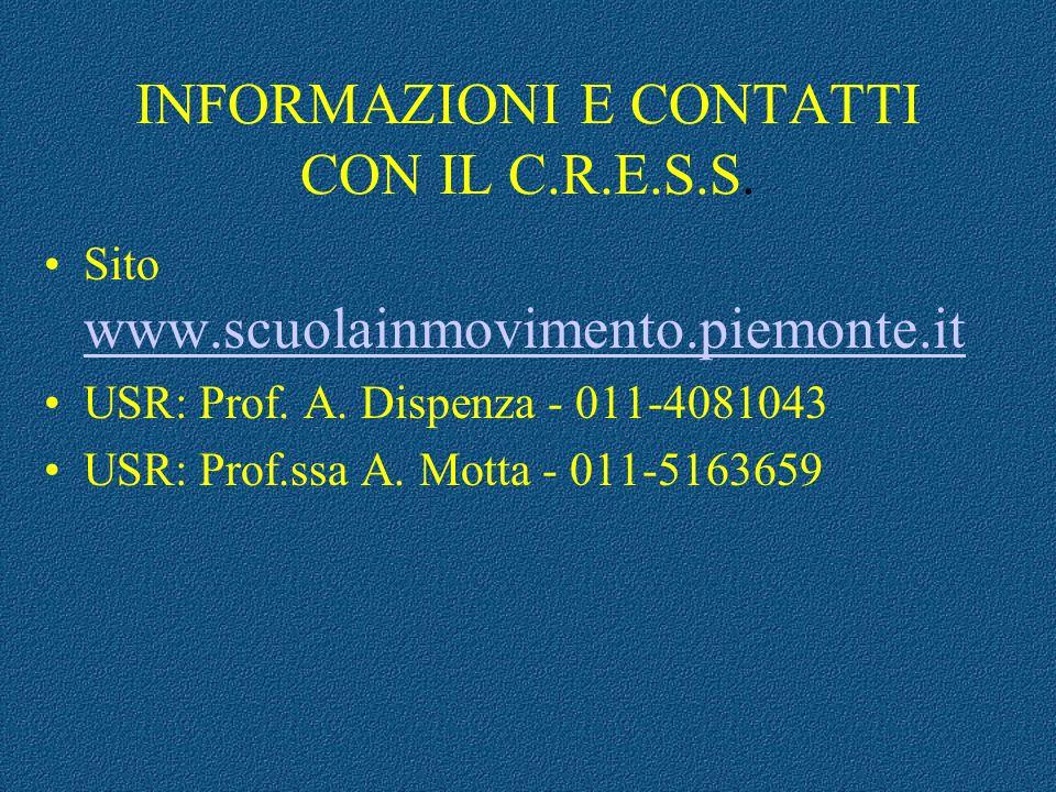 INFORMAZIONI E CONTATTI CON IL C.R.E.S.S. Sito www.scuolainmovimento.piemonte.it www.scuolainmovimento.piemonte.it USR: Prof. A. Dispenza - 011-408104
