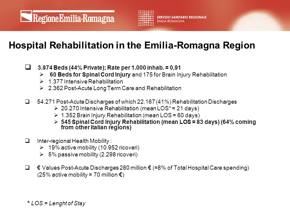 Hospital Rehabilitation in the Emilia-Romagna Region 3.974 Beds (44% Private); Rate per 1.000 inhab. = 0,91 60 Beds for Spinal Cord Injury and 175 for