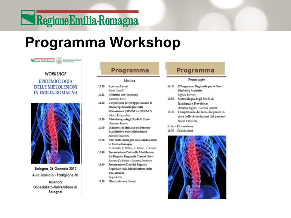 Obiettivi Workshop Pianificare uno Studio Epidemiologico per la stima di Incidenza e Prevalenza delle Mielolesioni in Emilia- Romagna da fonti informative correnti.