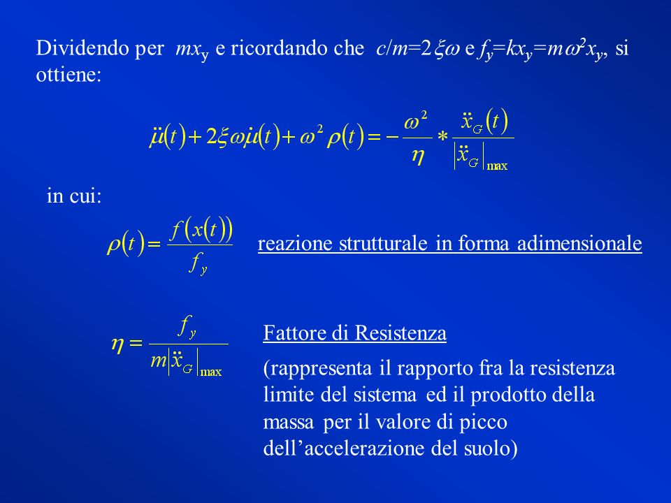 Dividendo per mx y e ricordando che c/m=2 e f y =kx y =m 2 x y, si ottiene: in cui: reazione strutturale in forma adimensionale Fattore di Resistenza