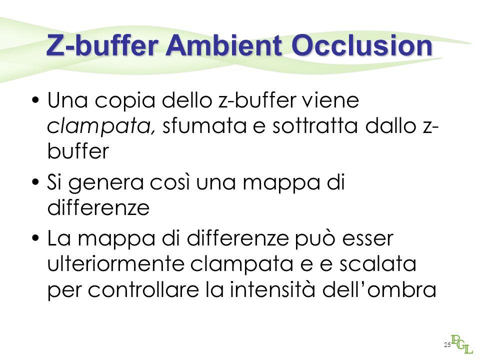 Z-buffer Ambient Occlusion Una copia dello z-buffer viene clampata, sfumata e sottratta dallo z- buffer Si genera così una mappa di differenze La mapp