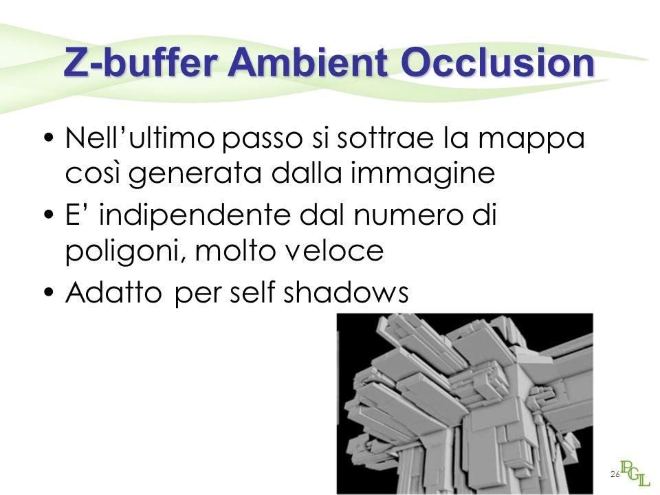 Z-buffer Ambient Occlusion Nellultimo passo si sottrae la mappa così generata dalla immagine E indipendente dal numero di poligoni, molto veloce Adatt