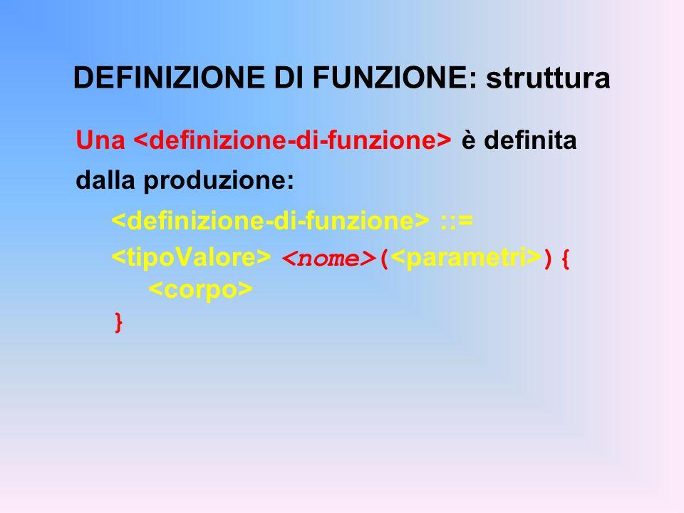 DEFINIZIONE DI FUNZIONE: struttura Una è definita dalla produzione: ::= ( ){ }