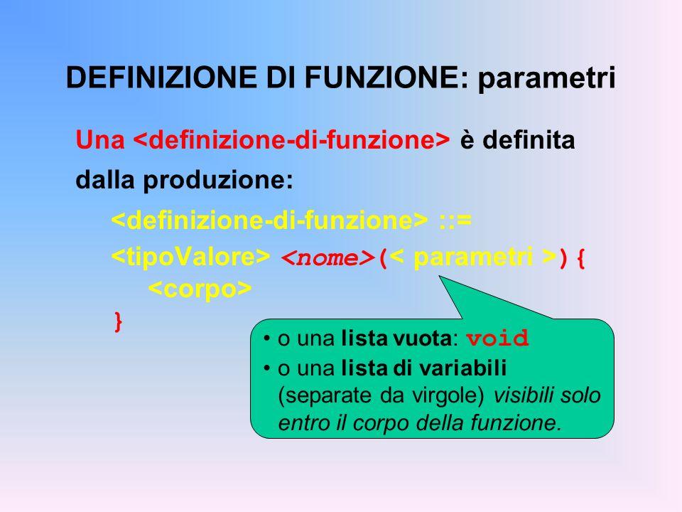 DEFINIZIONE DI FUNZIONE: parametri Una è definita dalla produzione: ::= ( ){ } o una lista vuota: void o una lista di variabili (separate da virgole) visibili solo entro il corpo della funzione.
