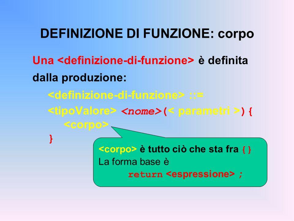 DEFINIZIONE DI FUNZIONE: corpo Una è definita dalla produzione: ::= ( ){ } è tutto ciò che sta fra {} La forma base è return ;