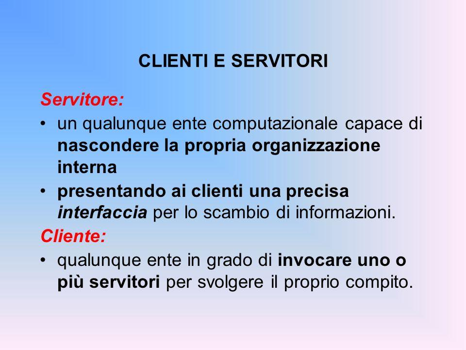 Servitore: un qualunque ente computazionale capace di nascondere la propria organizzazione interna presentando ai clienti una precisa interfaccia per lo scambio di informazioni.