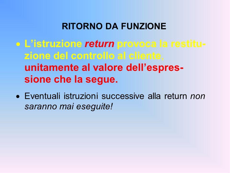 RITORNO DA FUNZIONE Listruzione return provoca la restitu- zione del controllo al cliente, unitamente al valore dellespres- sione che la segue.