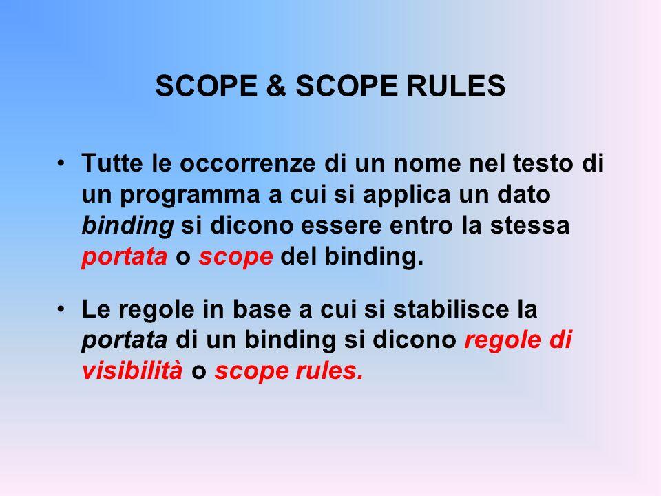 SCOPE & SCOPE RULES Tutte le occorrenze di un nome nel testo di un programma a cui si applica un dato binding si dicono essere entro la stessa portata o scope del binding.