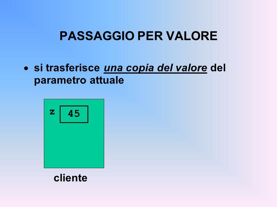 PASSAGGIO PER VALORE si trasferisce una copia del valore del parametro attuale cliente z 45