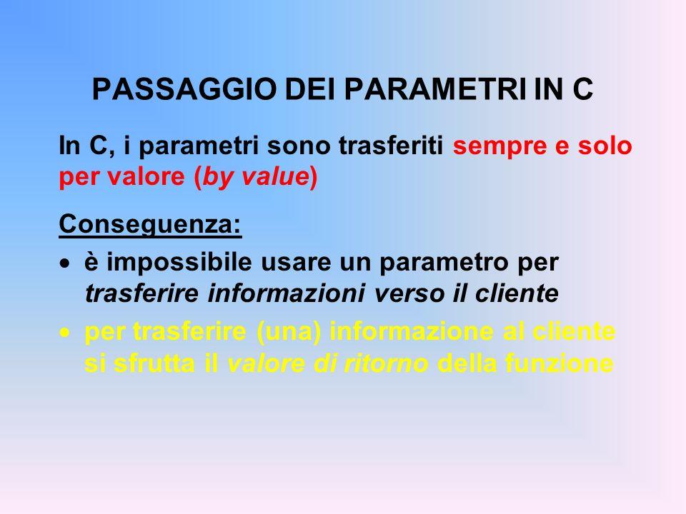 PASSAGGIO DEI PARAMETRI IN C In C, i parametri sono trasferiti sempre e solo per valore (by value) Conseguenza: è impossibile usare un parametro per trasferire informazioni verso il cliente per trasferire (una) informazione al cliente si sfrutta il valore di ritorno della funzione