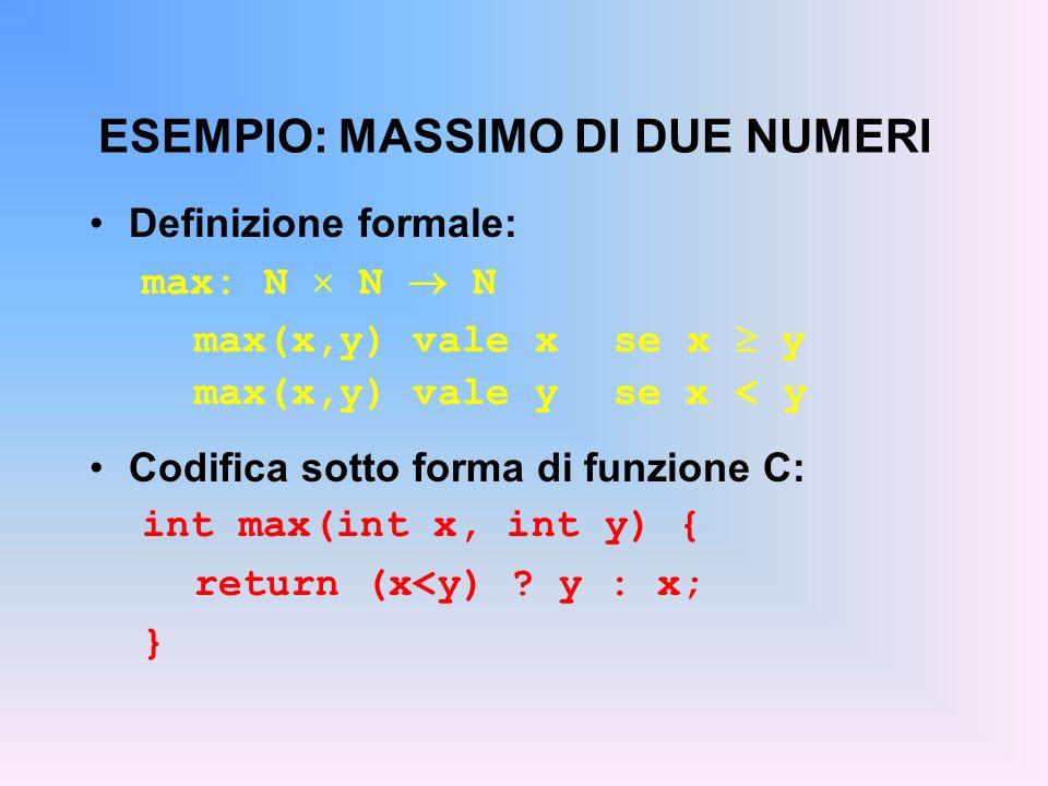 ESEMPIO: MASSIMO DI DUE NUMERI Definizione formale: max: N N N max(x,y) vale x se x y max(x,y) vale y se x < y Codifica sotto forma di funzione C: int max(int x, int y) { return (x<y) .