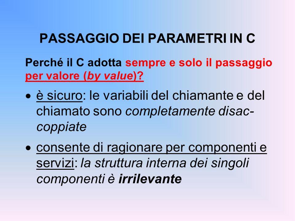 PASSAGGIO DEI PARAMETRI IN C Perché il C adotta sempre e solo il passaggio per valore (by value).