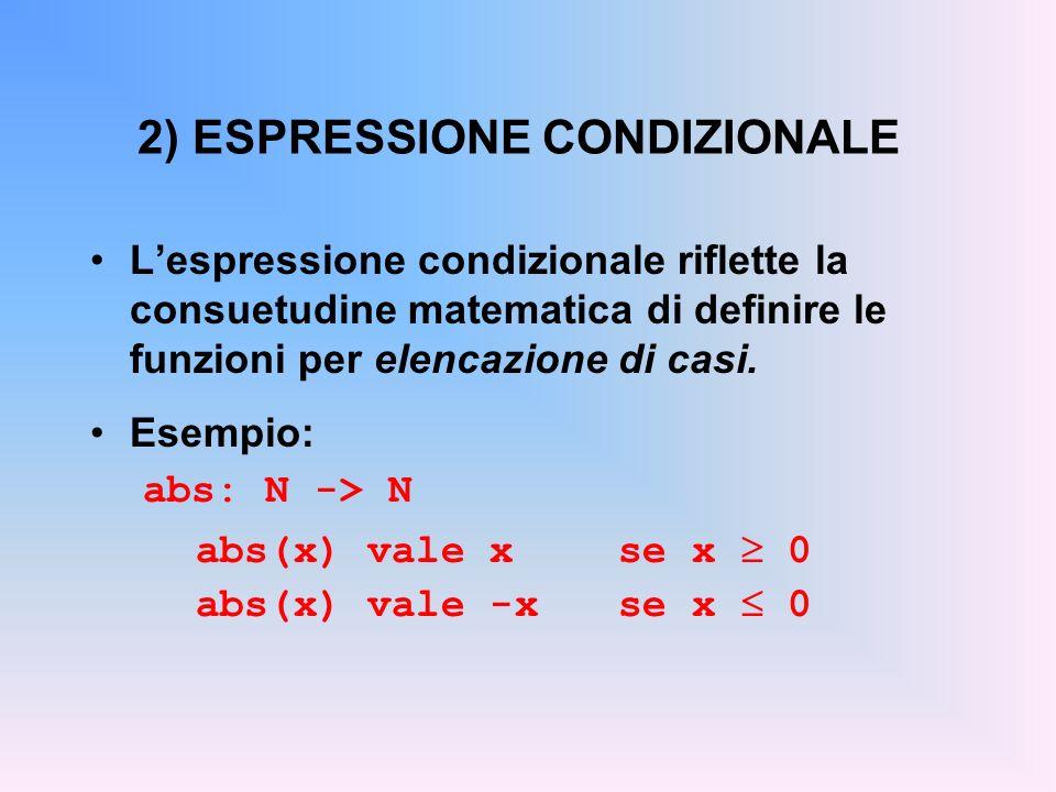 2) ESPRESSIONE CONDIZIONALE Lespressione condizionale riflette la consuetudine matematica di definire le funzioni per elencazione di casi.