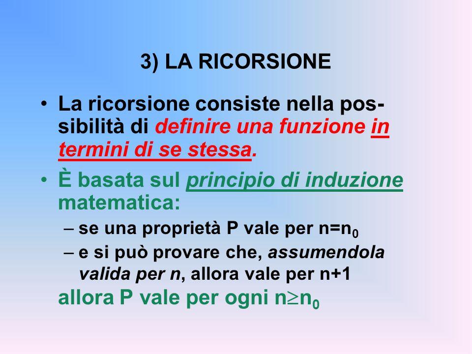 3) LA RICORSIONE La ricorsione consiste nella pos- sibilità di definire una funzione in termini di se stessa.