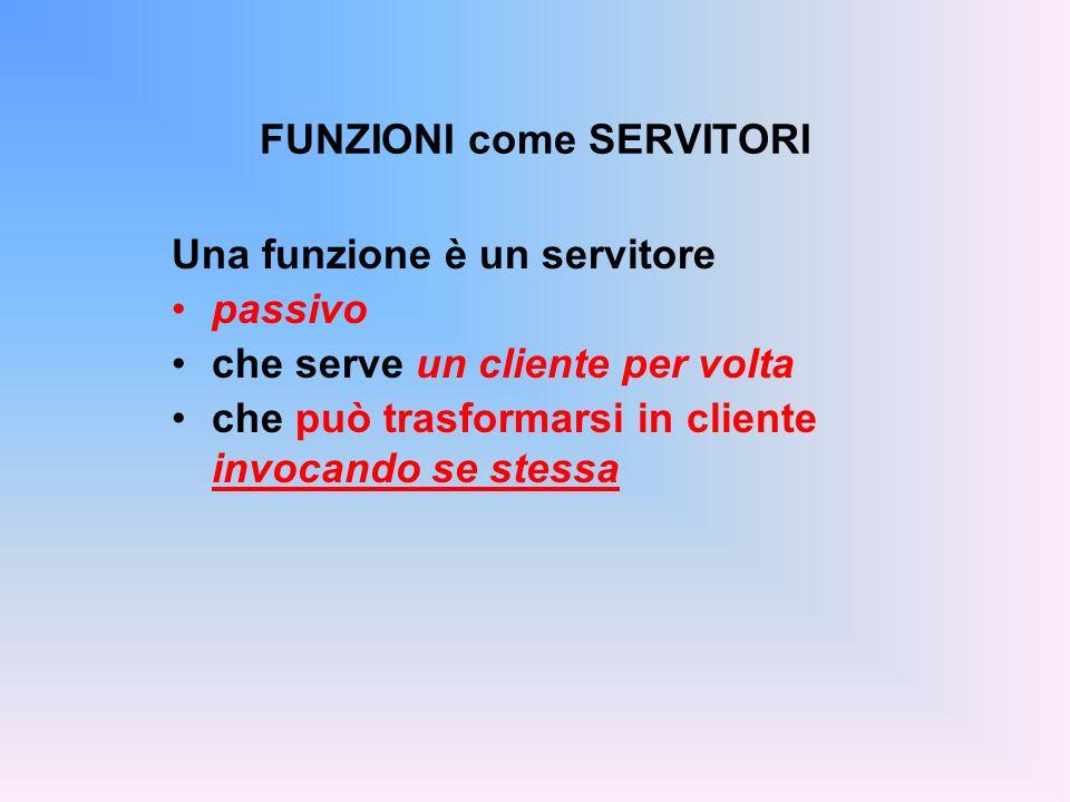 FUNZIONI come SERVITORI Una funzione è un servitore passivo che serve un cliente per volta che può trasformarsi in cliente invocando se stessa
